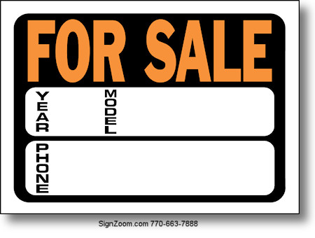 For Sale Sign .  Car Sale Sign Template