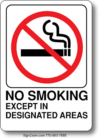 No Smoking Except In Designated Areas Sign,Nursing School T Shirt Designs