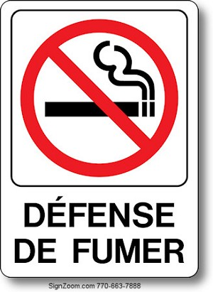 defense de fumer no smoking french sign. Black Bedroom Furniture Sets. Home Design Ideas