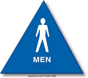 CALIFORNIA TITLE 24 MEN'S RESTROOM - BLUE TRIANGLE Sign
