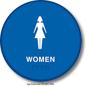 CALIFORNIA TITLE 24 WOMEN'S RESTROOM - BLUE ROUND Sign